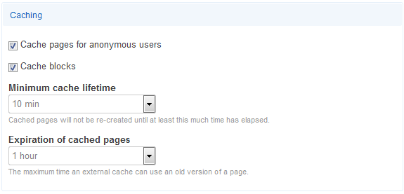 Drupal cache settings screen