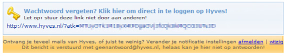 Hyves (Dutch Facebook) generates a new login link on some emails